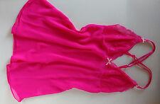 Pretty Pink Elasticated Crossback Babydoll Adjustable Camisole Nighty UK 8/10
