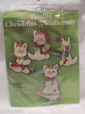VINTAGE BUCILLA 3 LITTLE KITTENS JEWELED CHRISTMAS ORNAMENT KIT - SET OF 4