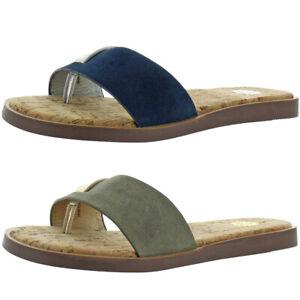 Yellow Box Baran Women's Leather Metallic Slip On Flat Thong Sandals