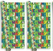 10m (2 x 5m) Christmas Gift Wrapping Paper - Green Jingle Santa & Friends