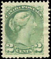 Mint NG Canada 1872 F-VF Scott #36 2c Small Queen Issue Stamp