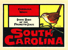 ORIGINAL VINTAGE TRAVEL DECAL SOUTH CAROLINA WREN STATE BIRD PALMETTO AUTO OLD