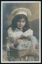 Pretty Child Girl Easter Egg Basket Cook Hat vintage old 1910s photo postcard