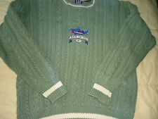 Men's size Med-Large Green Cable Knit Gap Sweater with Roaring Fork Rive Fish