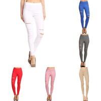 Womens Pull-On Ripped Distressed Stretch Legging Pants Denim Jean Slim Pants