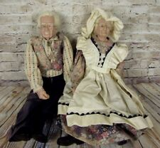 Porcelain Grandma And Grandpa Dolls William Wallace Old People Dolls 20 Inches