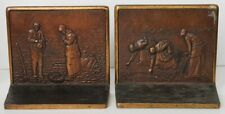 Beautiful 1920 Solid Bronze Bookends by Judd Company 'Thanks for a Good Harvest'