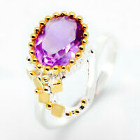 Handmade fine art Vintage Natural Amethyst 925 Sterling Silver Ring  / RVS11