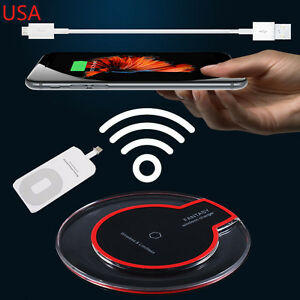 Qi Wireless Charger Charging Pad Mat Dock + Receiver For iphone 6 6S 5S 7 Plus