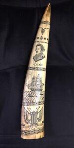 """Scrimshaw Walrus Tusk """"REGULUS CAPTAIN James Hood vintage Ivory Resin REPLICA"""