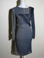 Reiss Twist Front Mini Pencil Dress Size 8 Blue Grey White Long Sleeve Formal