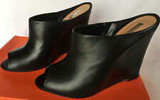 Schutz Atanado Soft Black High Heel Sandals Slip-On Wedge Shoes Women's 9.5 B