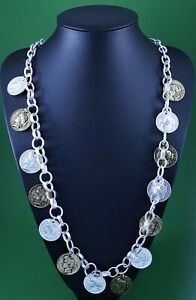 """Silver Chunky Link Chain Silver Brass Roman Coin  Long Lagenlook Necklace 33 """""""