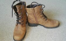 CLARKS- BROWN NUBUCK LEATHER LACE UP BOOTS- SIZE 4.5- WORN ONCE!