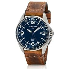 New Torgoen Swiss T25 Men's GMT / Dual Time 44 mm Pilot Watch Brown Strap T25BL