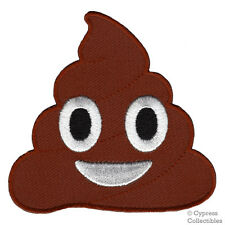 POOP EMOJI iron-on embroidered PATCH DOG DIRT PILE EMOTICON funny humor gag gift