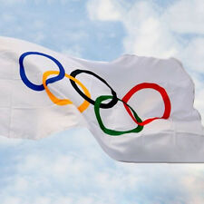 Summer Olympic Flag 5 x 3 FT 100% Polyester With EyeletsBanner Sign Rings Cool