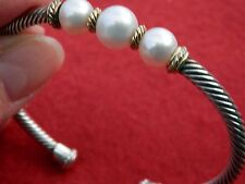 DAVID YURMAN Silver 18K Gold Hampton Elements 3xPearl Cable Cuff Bracelet $495
