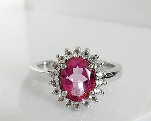 Fine Beautiful Sterling Silver & Simulated Diamond Cocktail Ring UK Q