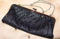 TieRack black satin&sequins&beads ladies small evening handbag shoulder bag