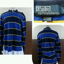 Vtg Polo by Ralph Lauren Rugby Style Shirt Long Sleeve Red Pony Blue Label Sz L