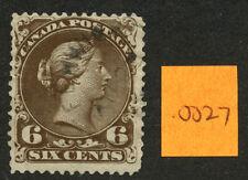 Canada 1868 Large Queen 6c brown Thin Paper #27c CDS FENWICK UC AU 23 ?