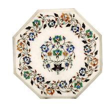 "12""x12"" Pietra Dura Inlay Handmade Work White Marble Table Top"