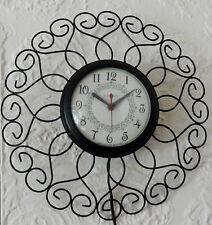 Vintage Mid Century Modern Black Metal Atomic Starburst United Wall Clock USA