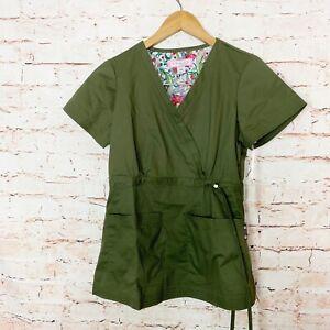 Koi Katelyn Mock Wrap Green Scrub Top Womens Size Xs