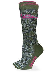 Drake Womens 40% Merino Wool Camo Full Cushion Boot Crew Socks 1 Pair Pack