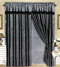 Black/Grey Flocking Leopard Satin Window Curtain Drape Set+Sheer Liner+Valance