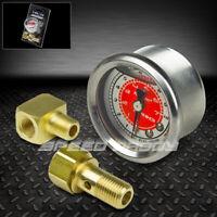 NRG 100PSI 0-100 PSI FUEL PRESSURE REGULATOR 1/8 NPT OIL/LIQUID-FILLED GAUGE RED