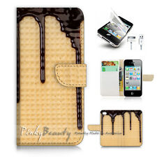 ( For iPhone 5 / 5S / SE ) Wallet Case Cover! Chocolate Wafer P1494