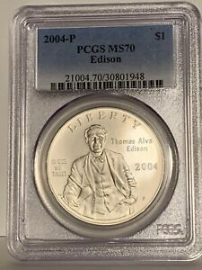 2004-P Thomas Edison Silver Dollar Commemorative PCGS MS-70