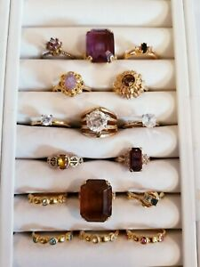AWESOME Vintage Mod Ring LOT 18kge A Sterling 14kge ESPO Avon Sarah Coventry YR