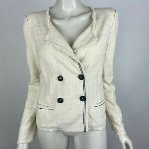 Isabel Marant Etoile Ivory Flenn Tweed Jacket Long Sleeve Blazer Women 44 US 12