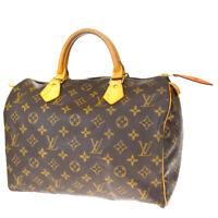 Auth LOUIS VUITTON Speedy 30 Travel Hand Bag Monogram Leather M41526 86BQ543