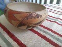 ANTIQUE HOPI PUEBLO POTTERY BOWL SIGNED NANCY NAPHI, WALPI