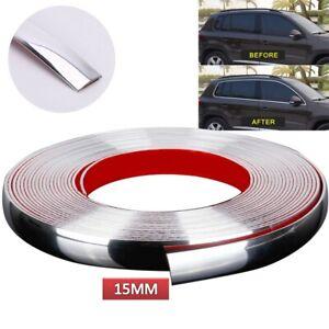 Car Chrome Styling Decoration Moulding Trim Strip Self Adhesive 15mmx15M Silver