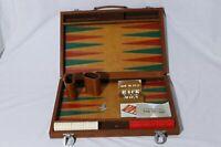 Vintage Red & White Backgammon Game Set in Brief Case