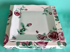 Royal  Doulton Rose Clouds Footed Square Tray  20cm - Boxed