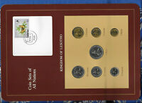Coin Sets of All Nations Lesotho 1 Loti, 25, 5, 2 Lisente 1979 50,10,1 1983 UNC