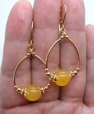 Smooth Honey Yellow Jade Gold Hoop Earrings A0316