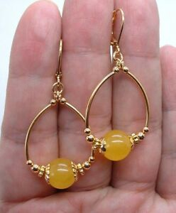 Smooth Honey Yellow Jade Gold Hoop Earrings A0316