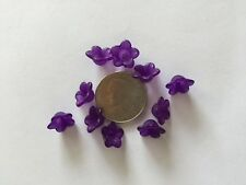 50 pcs Cute Frosted Amethyst Purple 13mm 5 Petal Acrylic Flower Beads