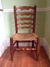 Antique Ladderback chair, 1780-1840, with rush seat.