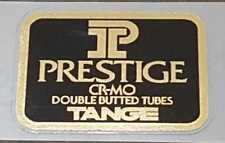 Tange Prestige Road Bike Tubing Decal - Mirror Gold on Black (sku Tang835)