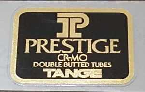 Tange Prestige Road Bike Tubing Decal - Mirror Gold on Black (sku Tang835