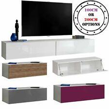 TV Lowboard Wand Fernsehstand Schrank T34 Möbel Speicherung Hochglanz & Holz