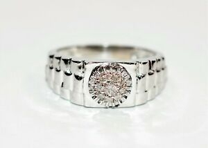Diamond .18tcw 10kt White Gold Statement Cluster Men's Ring